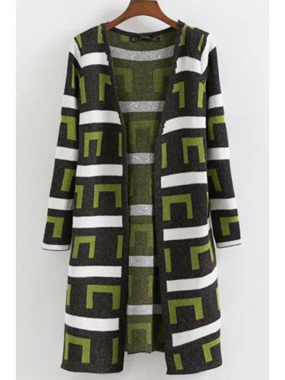 shops Geometric Pattern Long Sleeves Long Cardigan - GREEN ONE SIZE(FIT SIZE XS TO M)