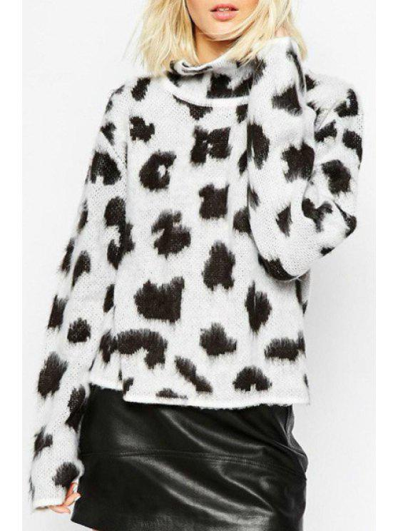outfit Leopard Pattern Stand Neck Long Sleeve Jumper - WHITE AND BLACK ONE SIZE(FIT SIZE XS TO M)