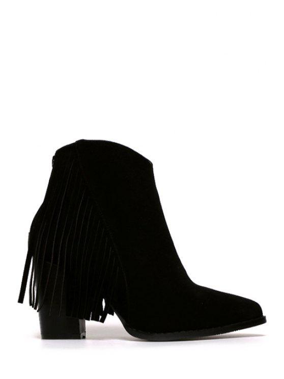 latest Fringe Suede Chunky Heel Short Boots - BLACK 35