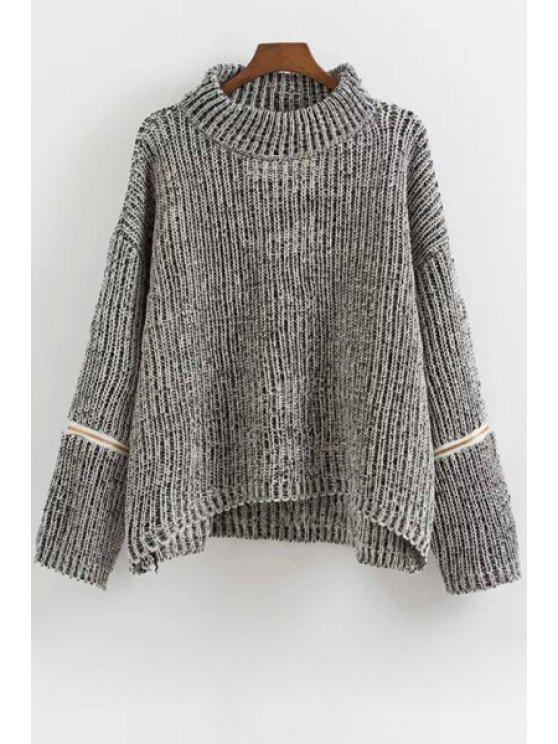 women's Zipper Turtle Collar Long Sleeve Jumper - GRAY ONE SIZE(FIT SIZE XS TO M)
