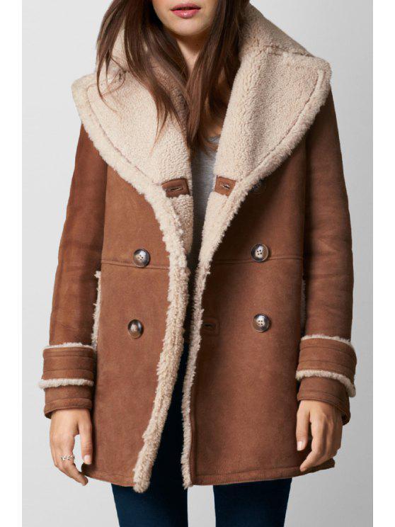 fashion Turn-Down Collar Fleece Suede Coat - BROWN S