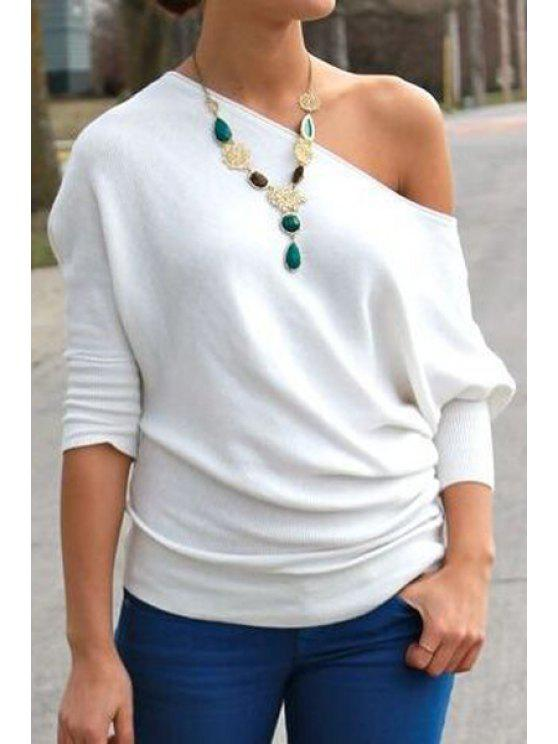 sale One-Shoulder Half Sleeve White T-Shirt - WHITE S