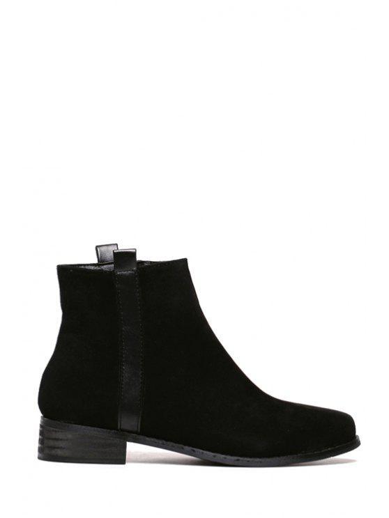 shops Suede Zipper Solid Color  Ankle Boots - BLACK 35