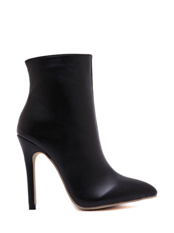 womens Pointed Toe Stiletto Heel Black Short Boots - BLACK 35