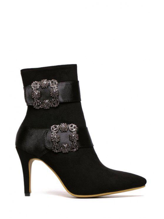 unique Square Buckle Pointed Toe Suede Short Boots - BLACK 37