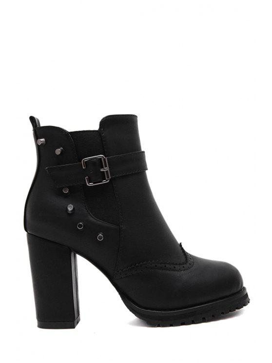 best Rivet Engraving Chunky Heel Short Boots - BLACK 35