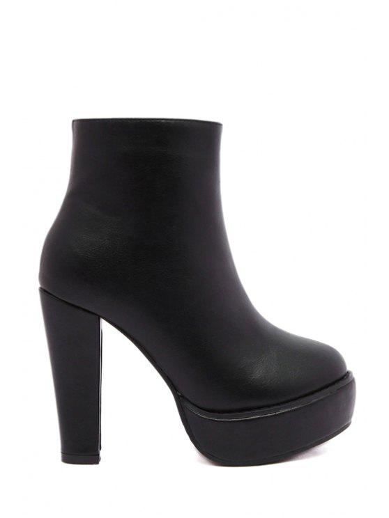 women Platform Solid Color Chunky Heel Short Boots - BLACK 34