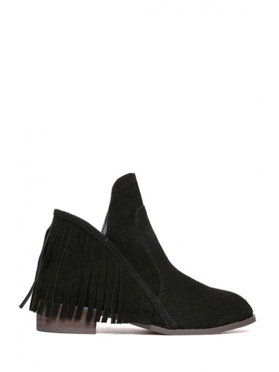 latest Fringe Suede Stitching Ankle Boots - BLACK 35