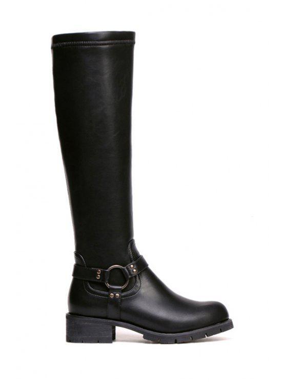 womens Metal Chunky Heel Black Knee-High Boots - BLACK 35