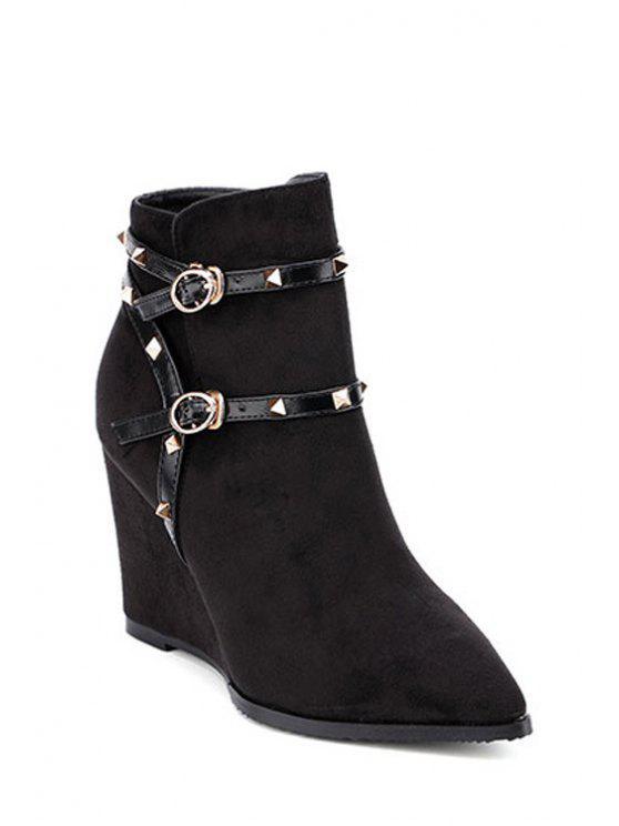 best Wedge Heel Rivet Pointed Toe Ankle Boots - BLACK 35