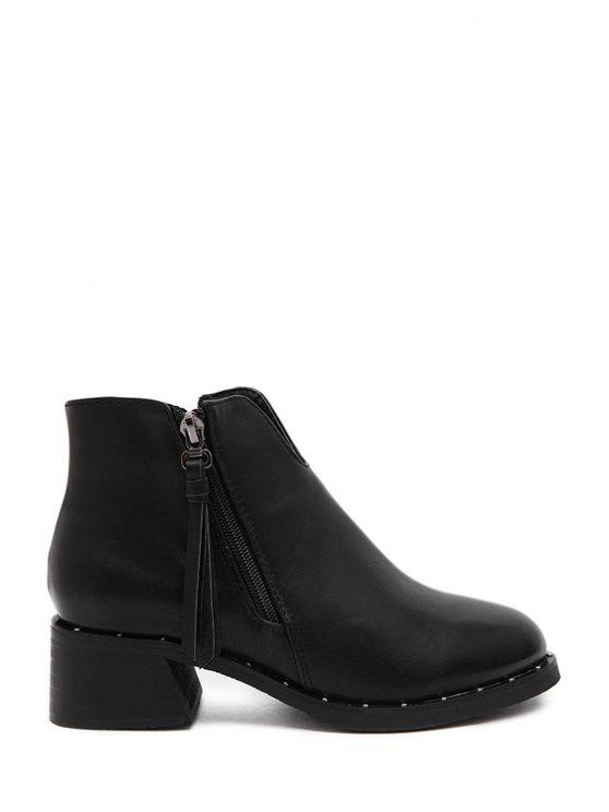 fashion Fringe Solid Color Chunky Heel Ankle Boots - BLACK 35