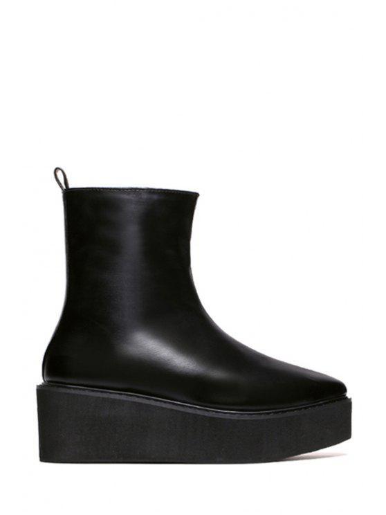 fashion Platform Black Pointed Toe Short Boots - BLACK 35