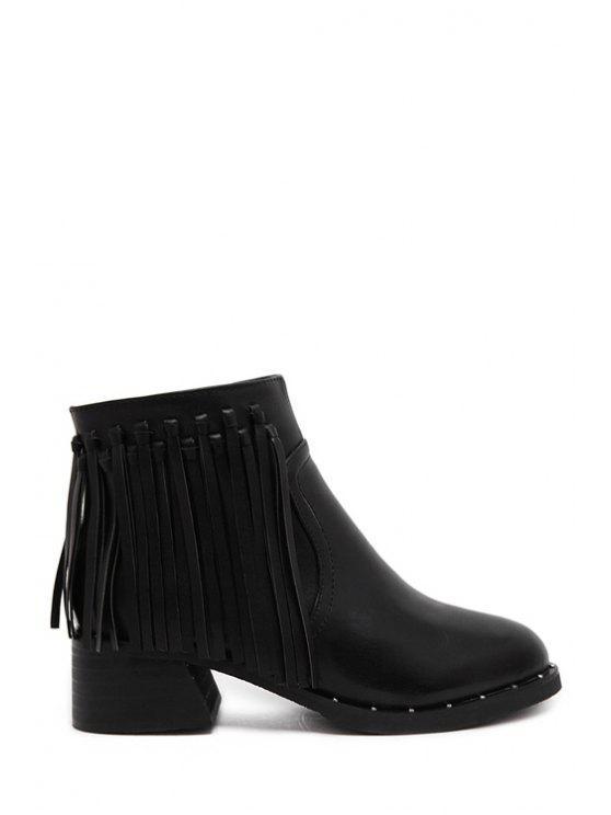 affordable Fringe Chunky Heel Solid Color Short Boots - BLACK 35