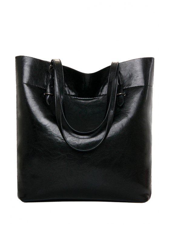 outfit Pure Color Zipper Stitching Shoulder Bag - BLACK