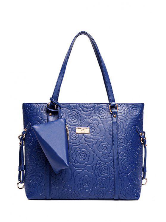 latest Embossing Pure Color Flowers Shoulder Bag - BLUE