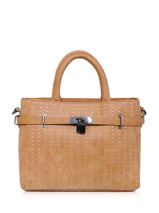 buy Hasp Stitching Belt Tote Bag - BROWN