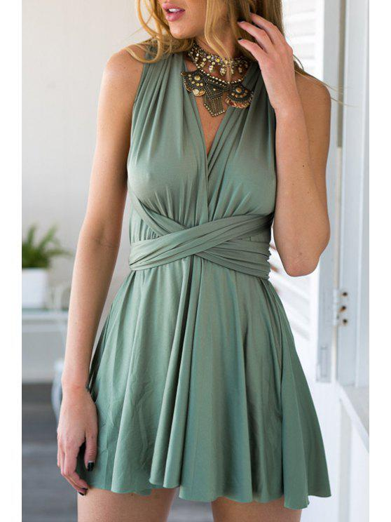 fashion Halter Backless Convertible Solid Color Self Tie Dress - GREEN S