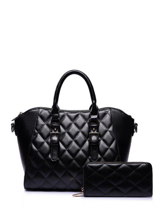 best Argyle Buckle Pure Color Tote Bag - BLACK