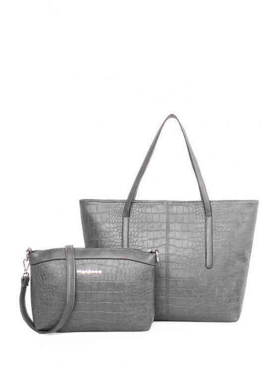 fancy Crocodile Print Zipper Pure Color Shoulder Bag - LIGHT GRAY