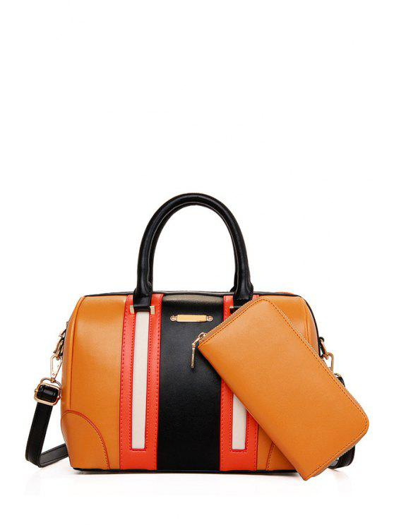 outfit Color Block Metal Zipper Tote Bag - EARTHY