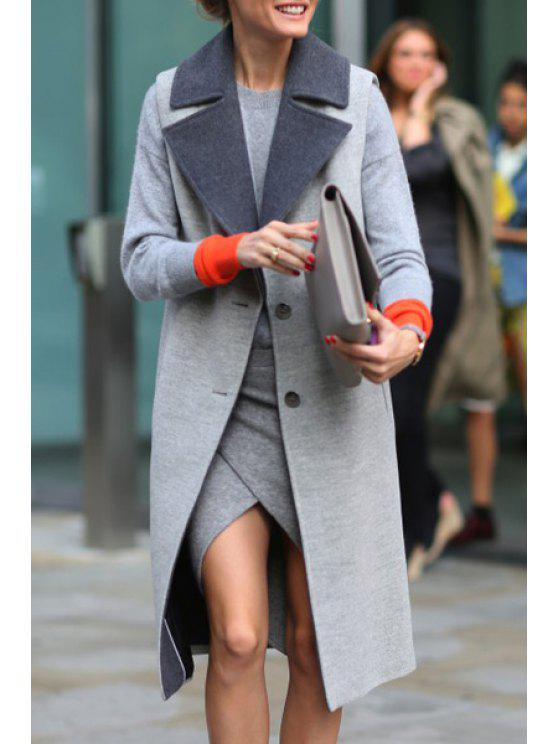 shop Solid Color Buttons Lapel Collar Long Sleeves Coat - GRAY S