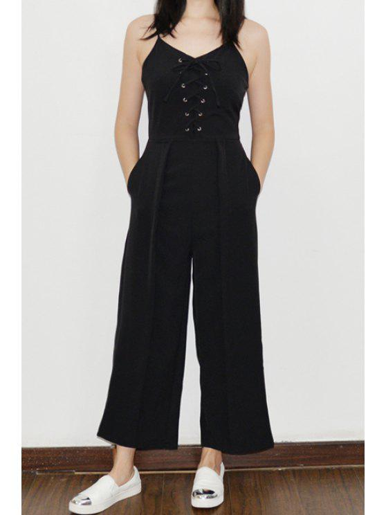 womens Sleeveless Lace-Up Palazzo Jumpsuit - BLACK S