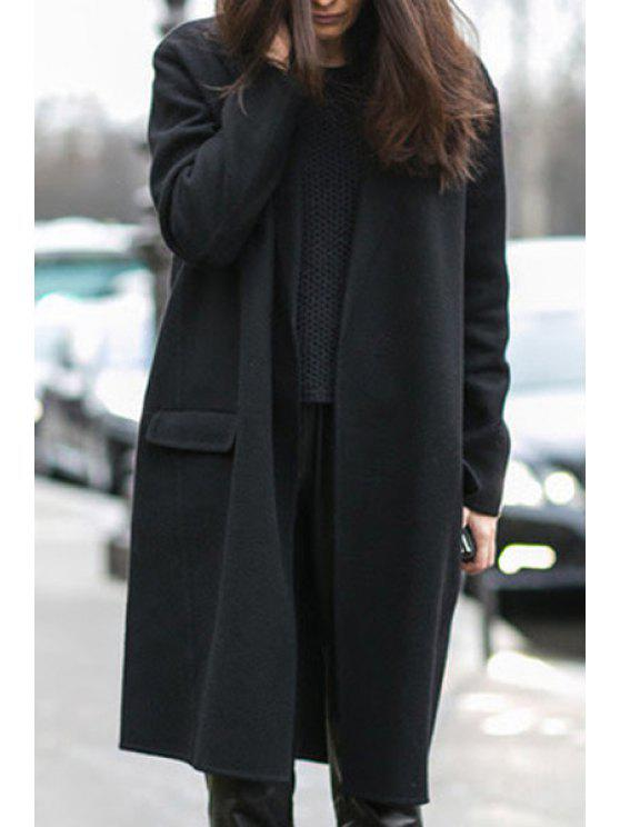 fashion Solid Color Thicken Turn-Down Collar Long Sleeves Coat - BLACK S