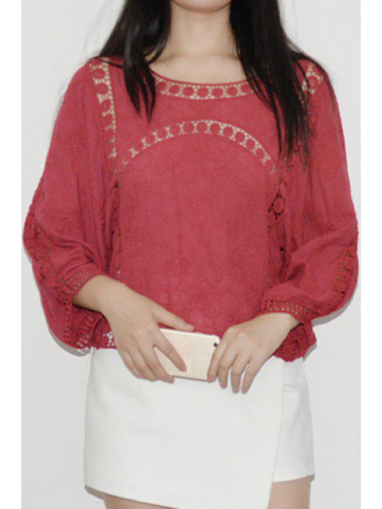 fashion Lantern Sleeve Openwork Lace Blouse - WINE RED ONE SIZE(FIT SIZE XS TO M)