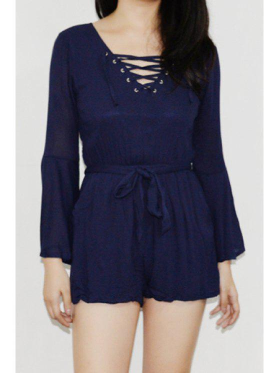 hot Bell Sleeve Self-Tie Belt Romper - DEEP BLUE ONE SIZE(FIT SIZE XS TO M)
