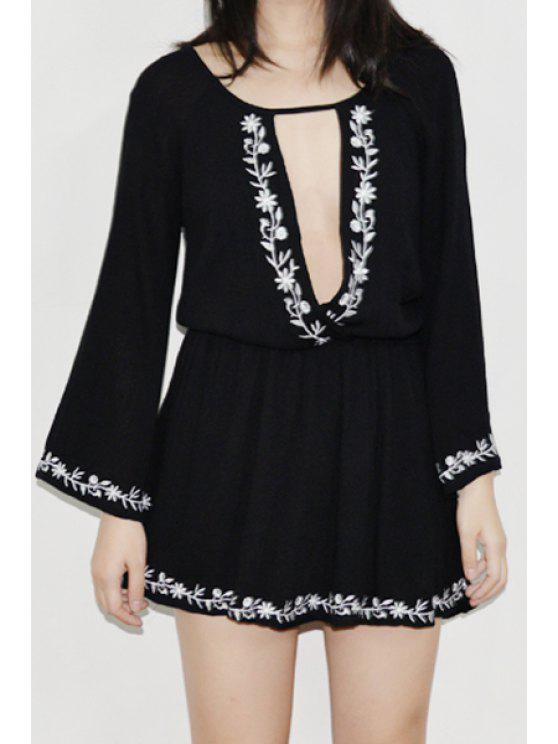 affordable Plunging Neck Bell Sleeve Embroidered Dress - BLACK ONE SIZE(FIT SIZE XS TO M)