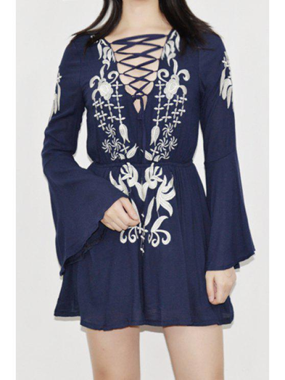 ladies Plunging Neck Bell Sleeve Totem Dress - DEEP BLUE ONE SIZE(FIT SIZE XS TO M)