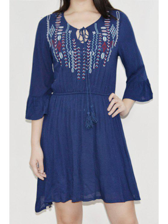 shops Ruffle Sleeve Embroidered Dress - DEEP BLUE ONE SIZE(FIT SIZE XS TO M)