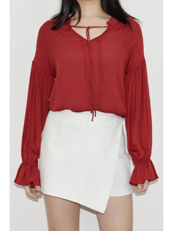 affordable Lantern Sleeve Ruffled Fall Top - WINE RED ONE SIZE(FIT SIZE XS TO M)
