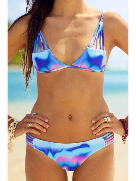 ladies Ombre Color Cami Bikini Set - AZURE S
