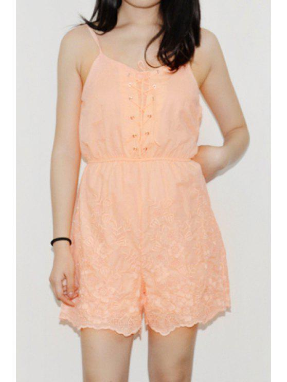 trendy Sleeveless Lace-Up Embroidered Romper - ORANGEPINK S
