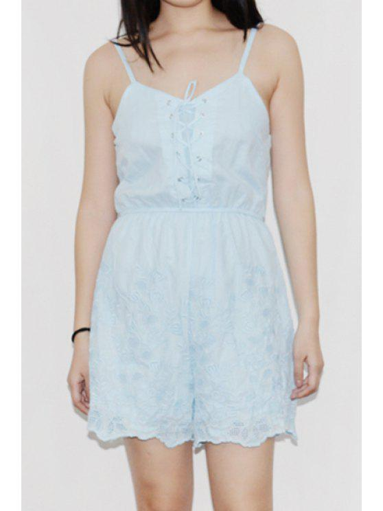 8f7f07775684 2019 Sleeveless Lace-Up Embroidered Romper In LIGHT BLUE M