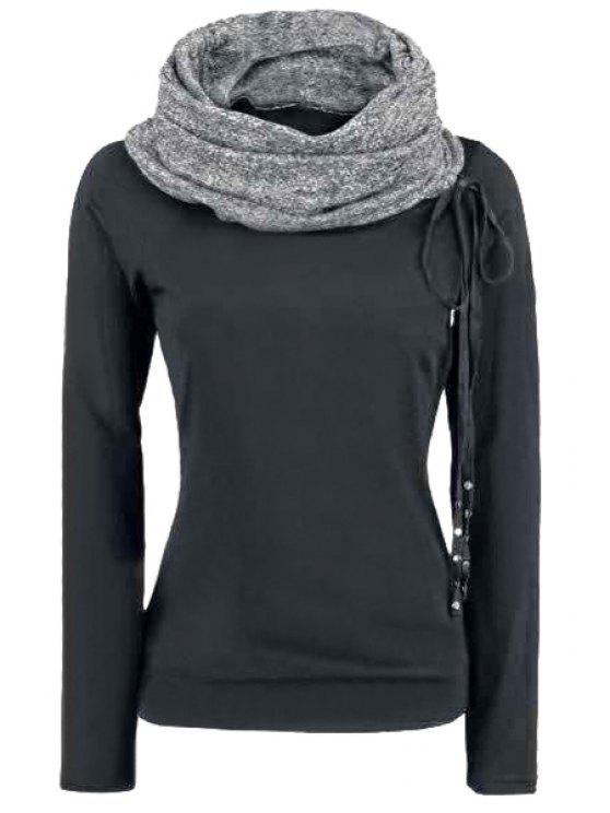 fashion Heaps Collar Spliced Thicken Gray Long Sleeves Sweatshirt - GRAY S