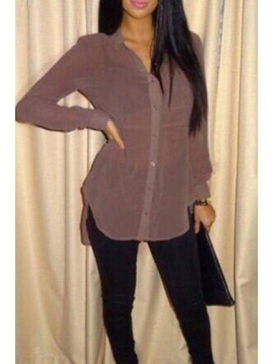 unique Pure Color Stand Neck Long Sleeves Shirt - COFFEE L