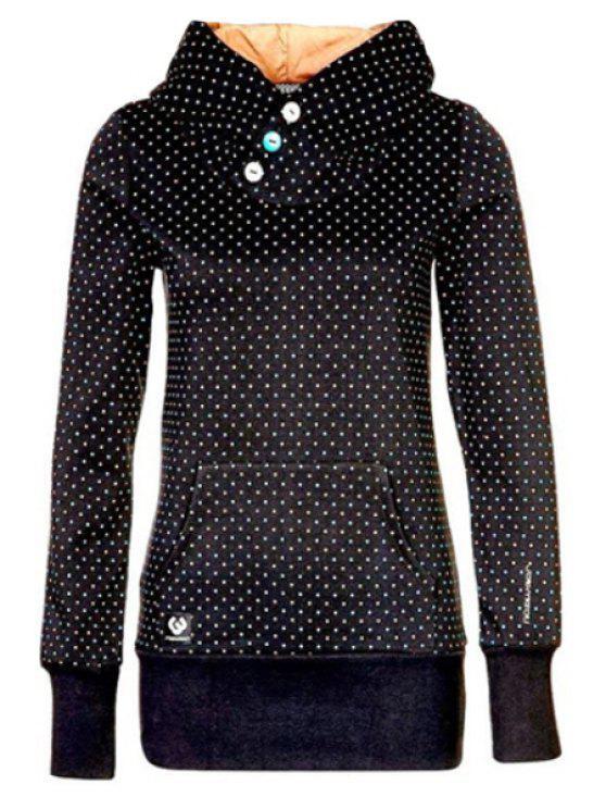 women Thicken Polka Dot Pocket Long Sleeves Sweatshirt - BLACK S