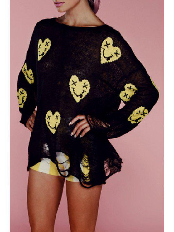 lady Smile Face Pattern Broken Hole Sweater - BLACK ONE SIZE(FIT SIZE XS TO M)
