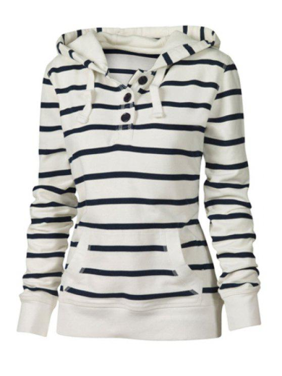 best Drawstring Striped Hooded Neck Long Sleeves Sweatshirt - WHITE S