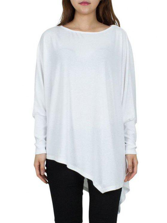 fashion Solid Color Irregular Hem Batwing Sleeves T-Shirt - WHITE ONE SIZE(FIT SIZE XS TO M)