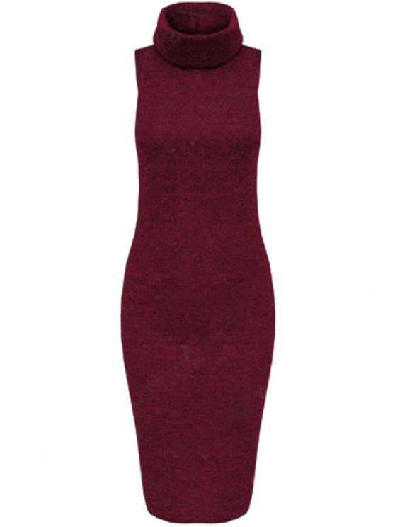 shop Solid Color Bodycon Turtle Neck Sleeveless Sweater Dress - WINE RED XL
