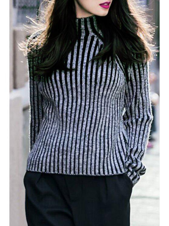 shops Turtleneck Striped Jumper - GRAY ONE SIZE(FIT SIZE XS TO M)