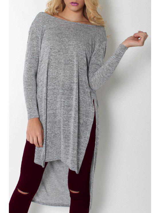 fancy Gray Slash Neck Long Sleeve Backless T-Shirt - GRAY S
