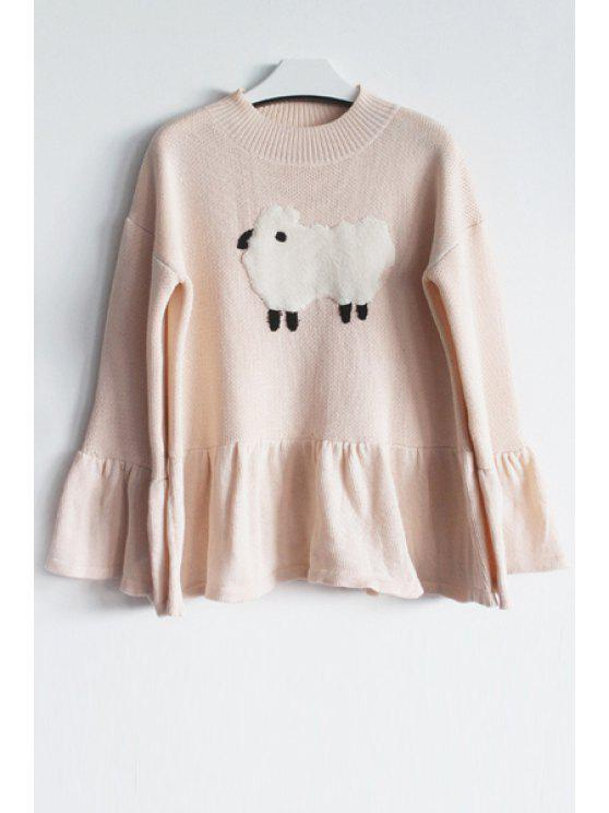 chic Ruffle Sleeve Lamb Pattern Jumper - PINK ONE SIZE(FIT SIZE XS TO M)