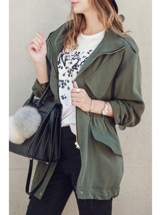 women's Solid Color All Match Loose Fitting Stand Collar Coat - ARMY GREEN ONE SIZE(FIT SIZE XS TO M)