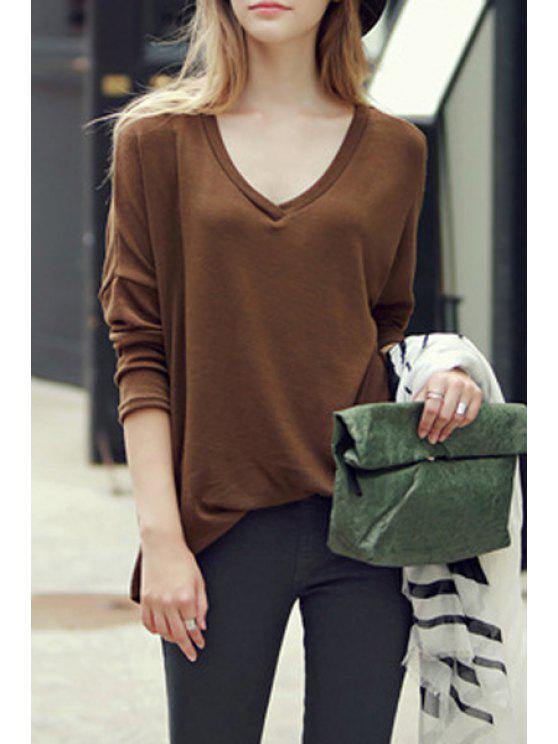 womens Solid Color Loose Fitting Irregular Hem V-Neck T-Shirt - BROWN XL