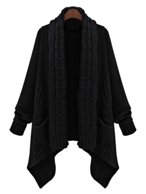 fancy Cable Knit Long Thick Cardigan - BLACK ONE SIZE(FIT SIZE XS TO M)