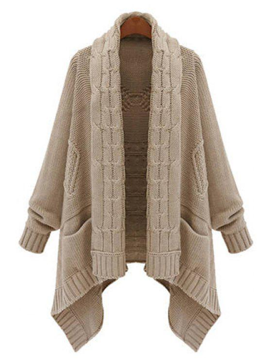 unique Cable Knit Long Thick Cardigan - KHAKI ONE SIZE(FIT SIZE XS TO M)
